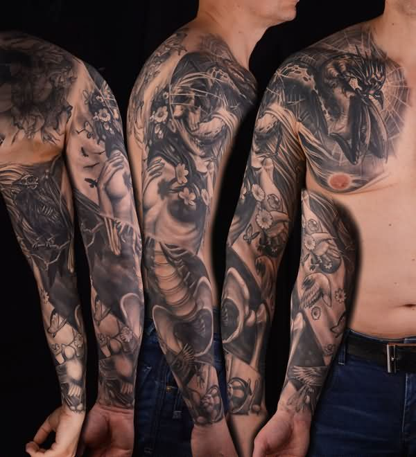 21 Catchy Black Ink Tattoos Designs By Hugo: Sleeve Tattoo Images & Designs