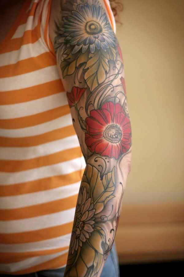 Men S Floral Tattoo: Sleeve Tattoo Images & Designs