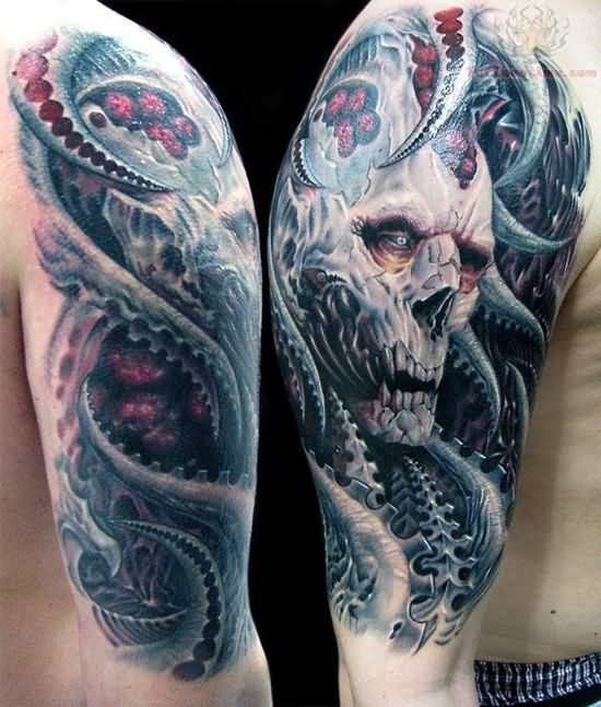 Awesome Grey Ink Biomechanical Skull Sleeve Tattoo,Emily Rhodes Designated Survivor