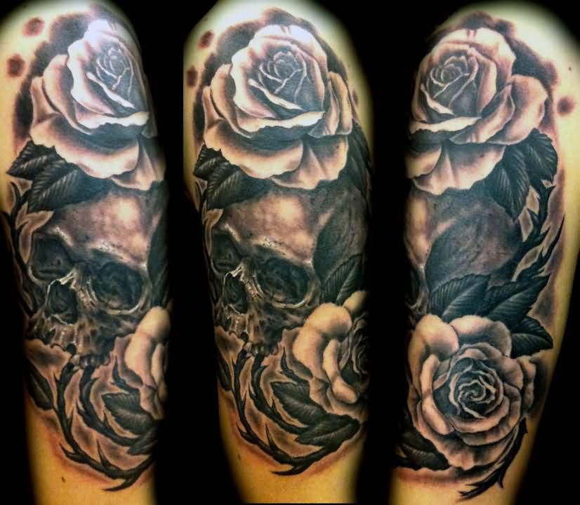 Black and white rose flowers with skull sleeve tattoo mightylinksfo