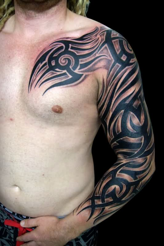 Sleeve tattoo images designs for Chest and sleeve tattoo