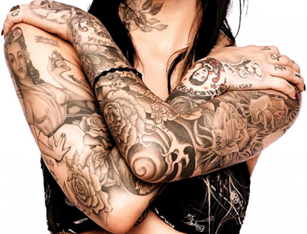 Girl With Grey Ink Sleeve Tattoos