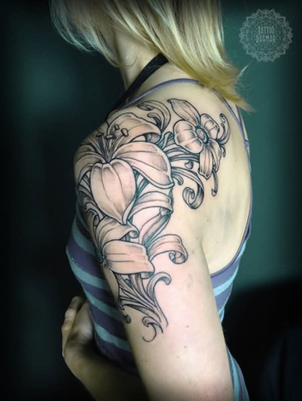 Attractive Grey Flowers Sleeve Tattoo For Girls