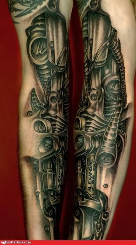 grey ink 3d biomechanical sleeve tattoo. Black Bedroom Furniture Sets. Home Design Ideas