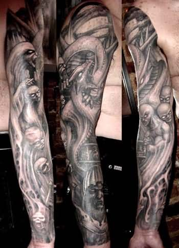 Grey Ink Death Sleeve Tattoo For Men