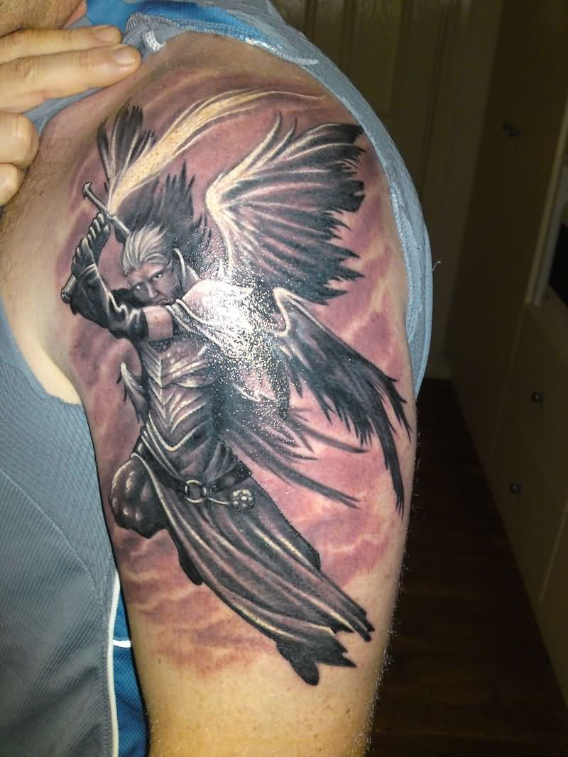Sleeve tattoo images designs for Angel half sleeve tattoo