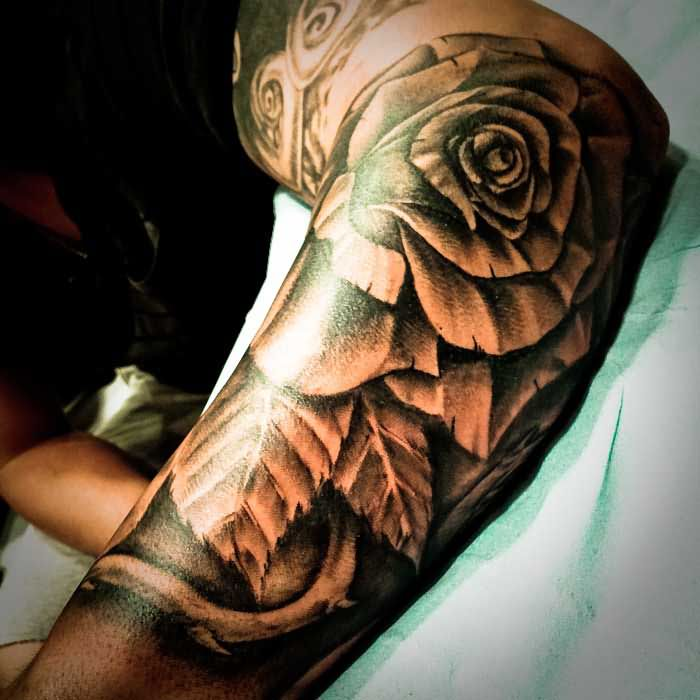 grey rose flower and leaf sleeve tattoo. Black Bedroom Furniture Sets. Home Design Ideas