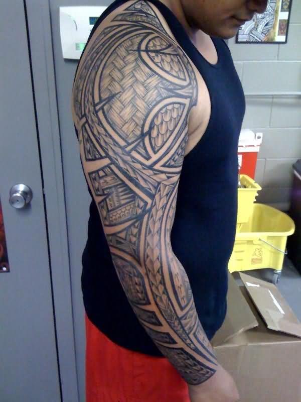 Man Full Sleeve Tribal Sleeve Tattoo
