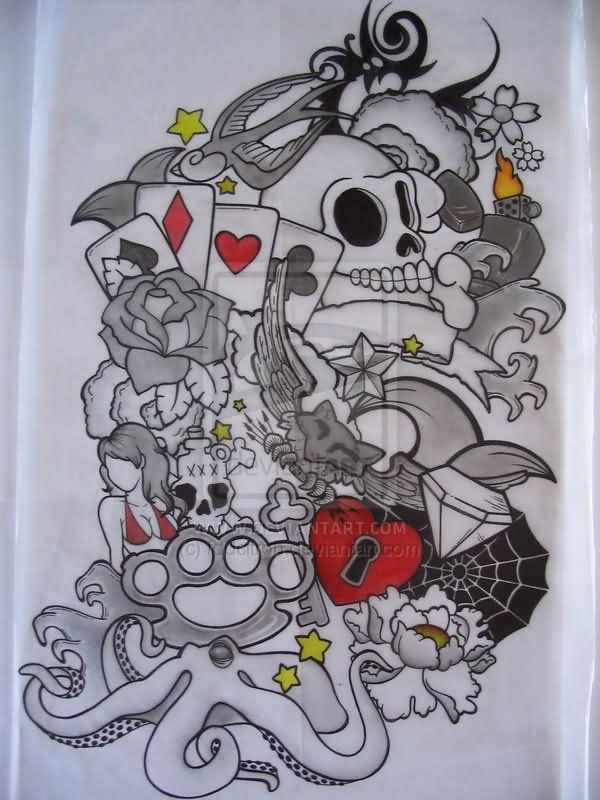 Octopus And Skull Sleeve Tattoo Design