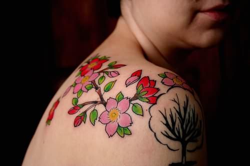 beautiful flowers tattoos on shoulder. Black Bedroom Furniture Sets. Home Design Ideas