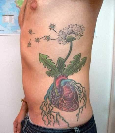 flower tattoo design on side rib. Black Bedroom Furniture Sets. Home Design Ideas