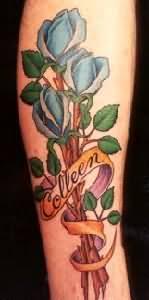 Jasmine Blue Flower Tattoo