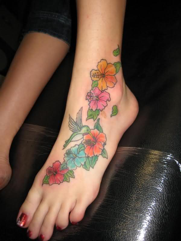 Star and flower foot tattoos for Star and flower tattoos