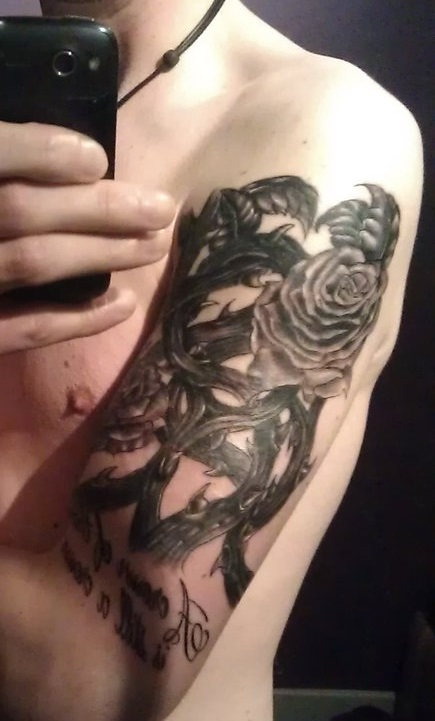 Black Rose With Thorns And Dragon Tattoo On Left Half Sleeve
