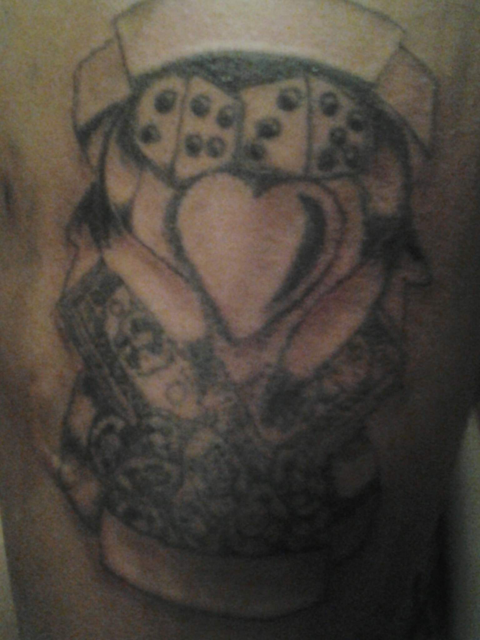 Heart And Dice With Banners Tattoo