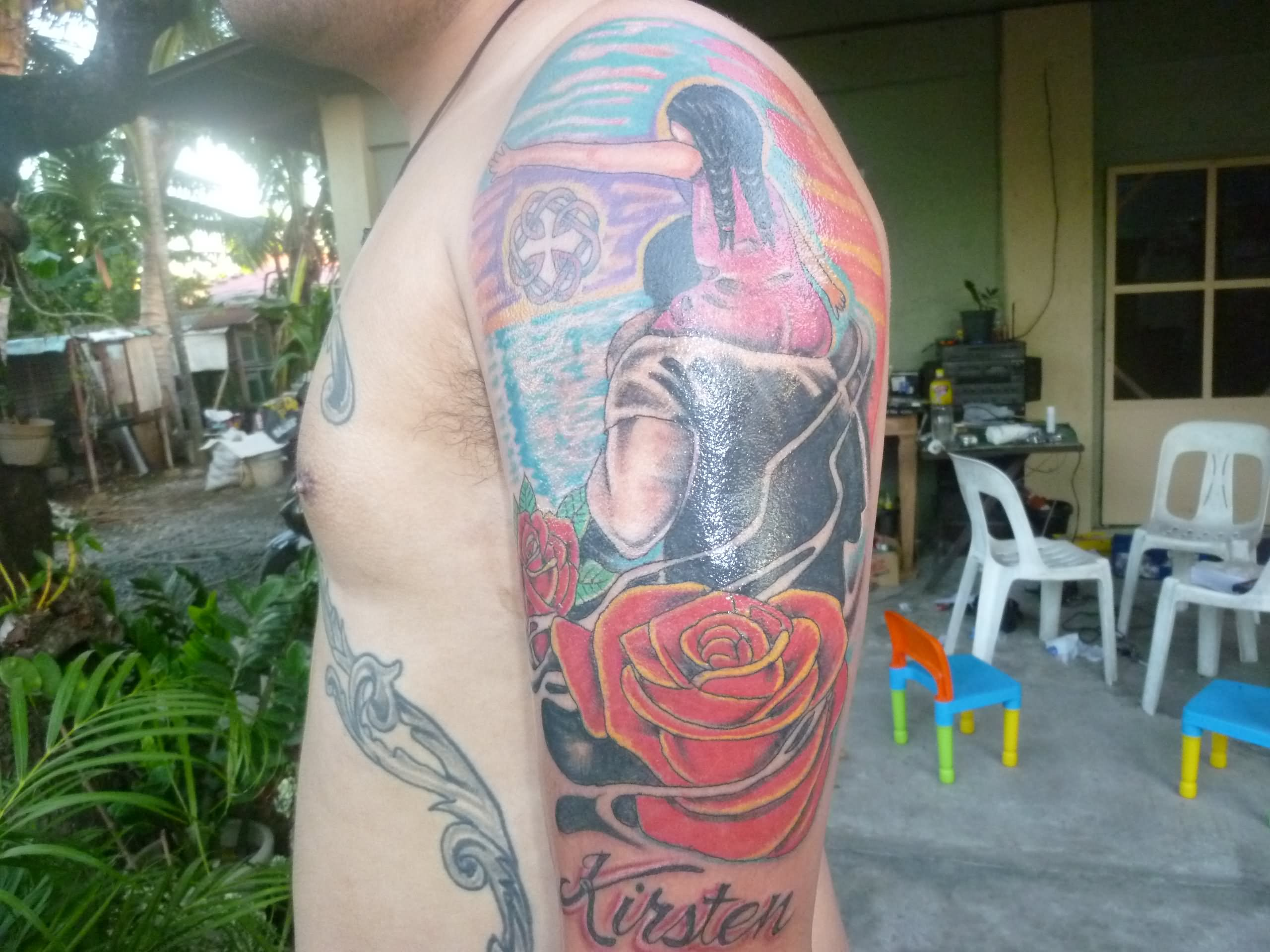 Rose flower father and daughter tattoo on half sleeve for men biocorpaavc Image collections