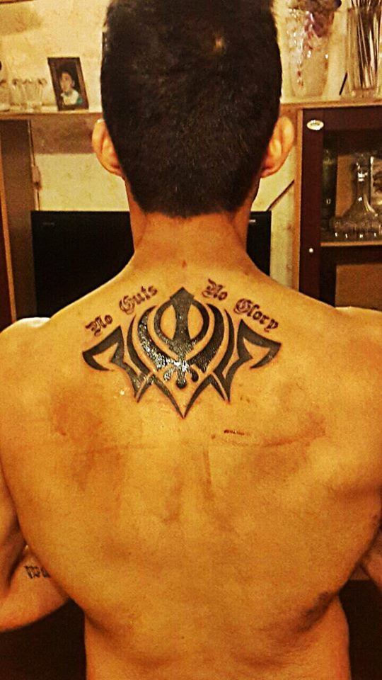Tribal Khanda Tattoo On Upperback