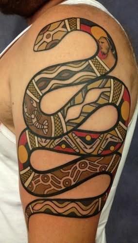 aboriginal snake tattoo on left half sleeve for men. Black Bedroom Furniture Sets. Home Design Ideas