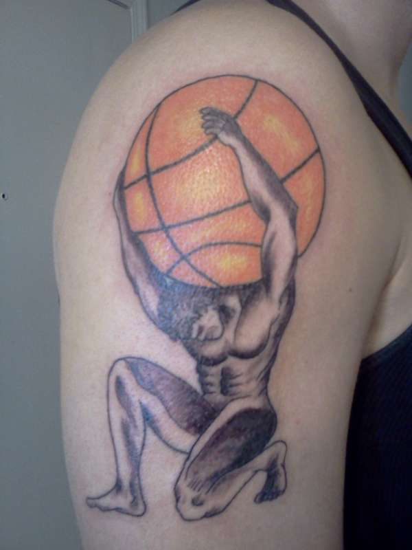 atlas basketball tattoo on shoulder. Black Bedroom Furniture Sets. Home Design Ideas