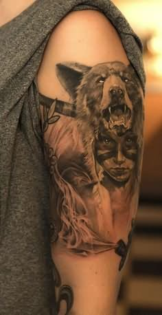 Bear Face On Girl Head Tattoo