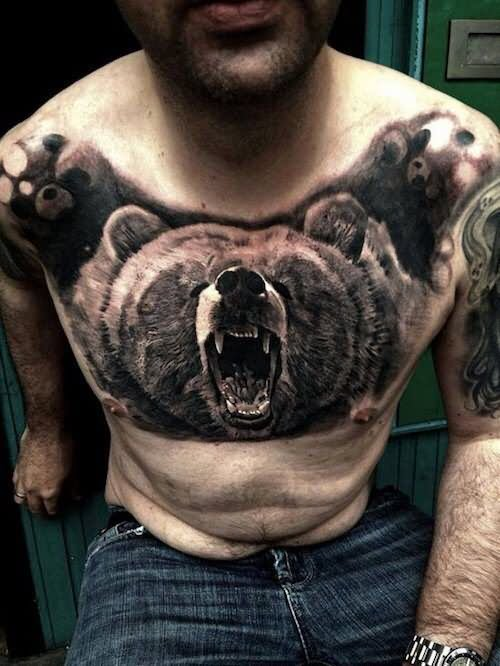 Bear Head Tattoo On Man Chest