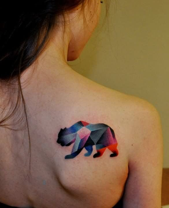 Beautiful Watercolor Bear Tattoo For Girls