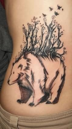 Birds Flying From Bear Back Tattoo