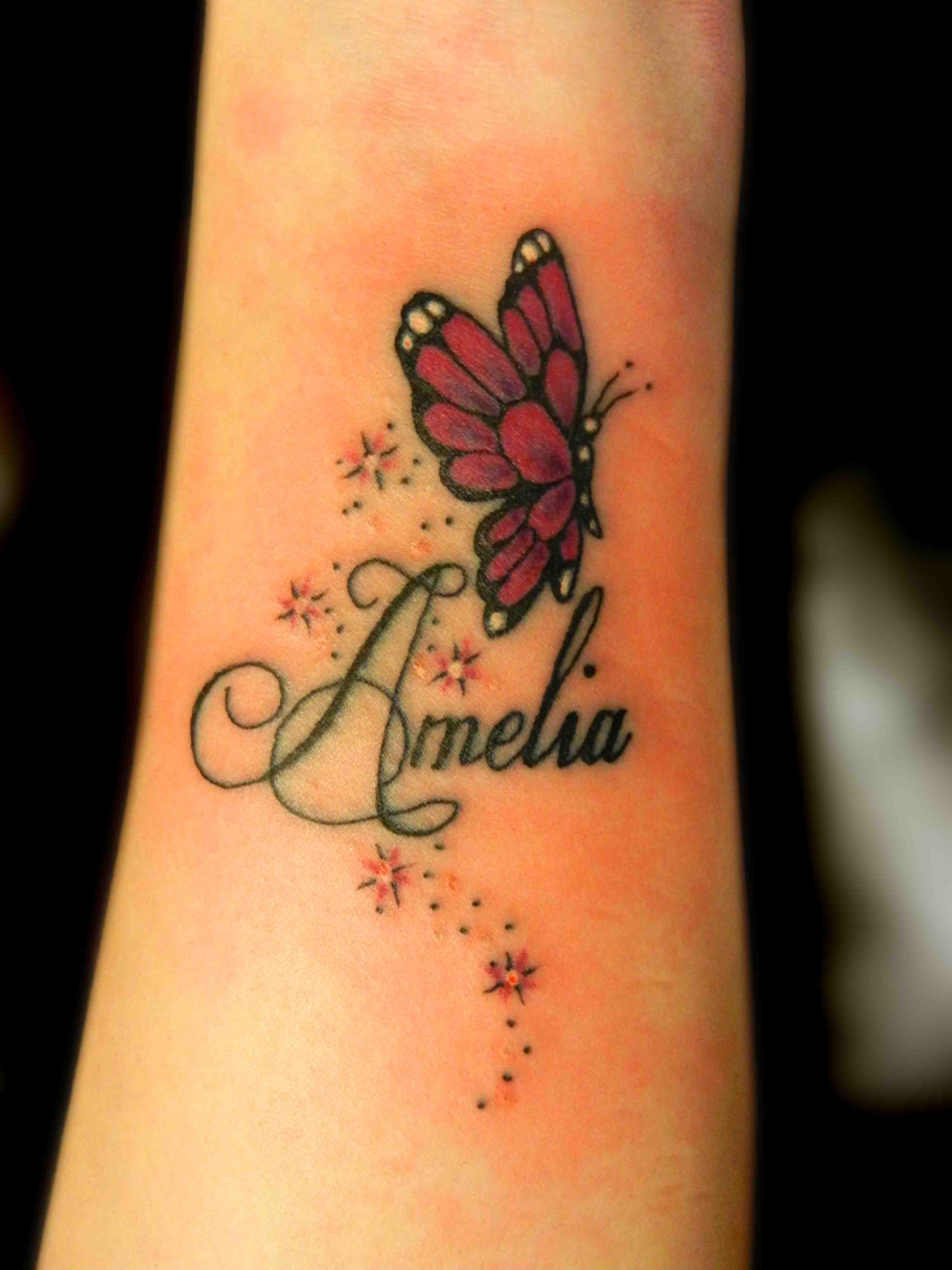 Butterfly Tattoo Names And Stars Twinkles Girly Wrist