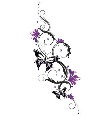 0b137cf65 Butterfly with Flowers Tattoo Design