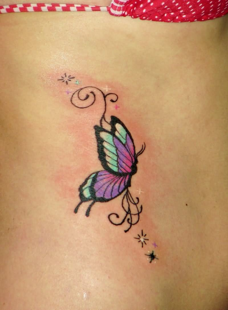 Cute Small Butterfly Tattoo On Hip For Girls