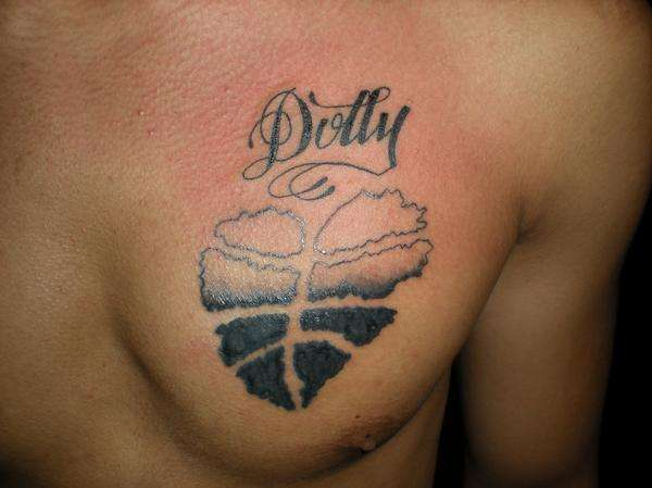 Basketball Chest Tattoos: Dolly Name With Basketball Heart Tattoo On Chest
