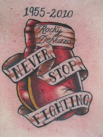 Never Stop Fighting Memorial Boxing Gloves Tattoo