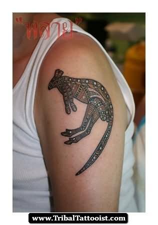 tribal aboriginal tattoo on left shoulder. Black Bedroom Furniture Sets. Home Design Ideas