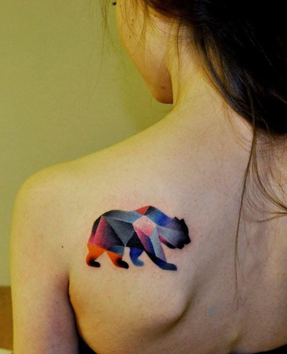 Bear watercolor tattoo - photo#6