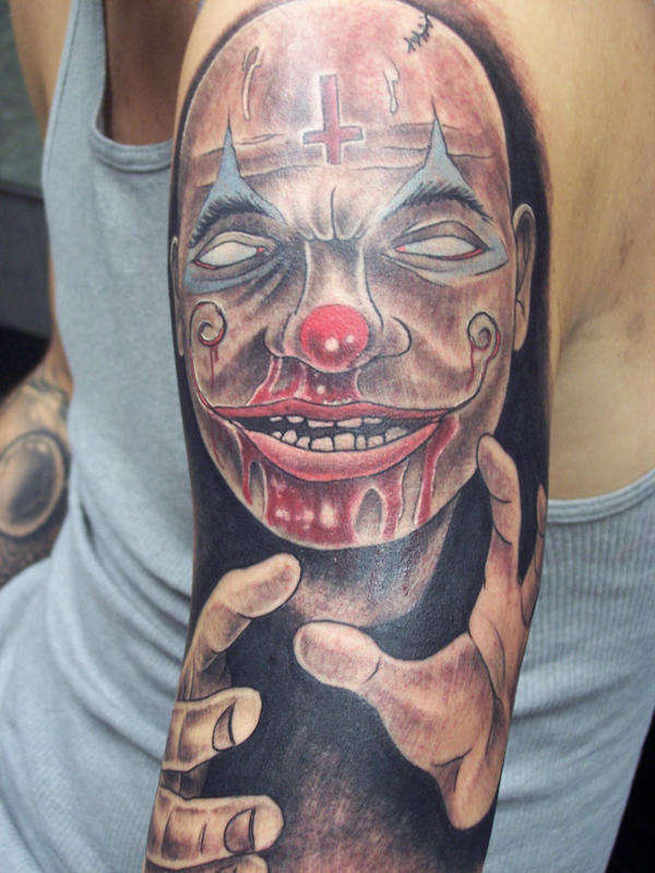 f23080dce Bleeding Face Clown Tattoo On Sleeve