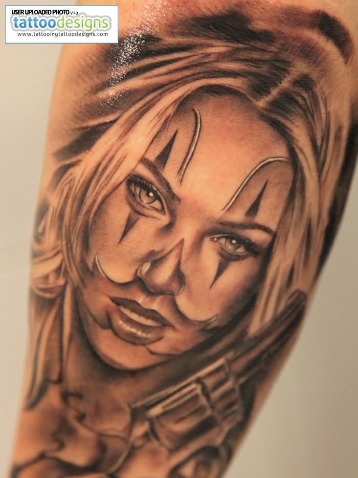 Evil Girl Clown With Gun Tattoo