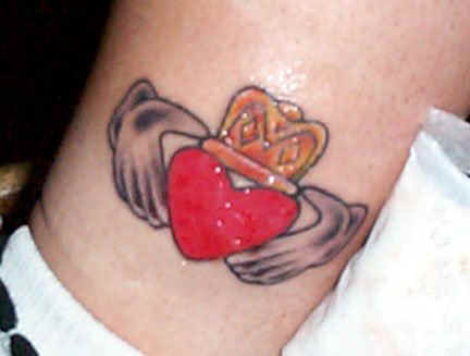 Red Heart With Crown Claddagh Tattoo On Leg