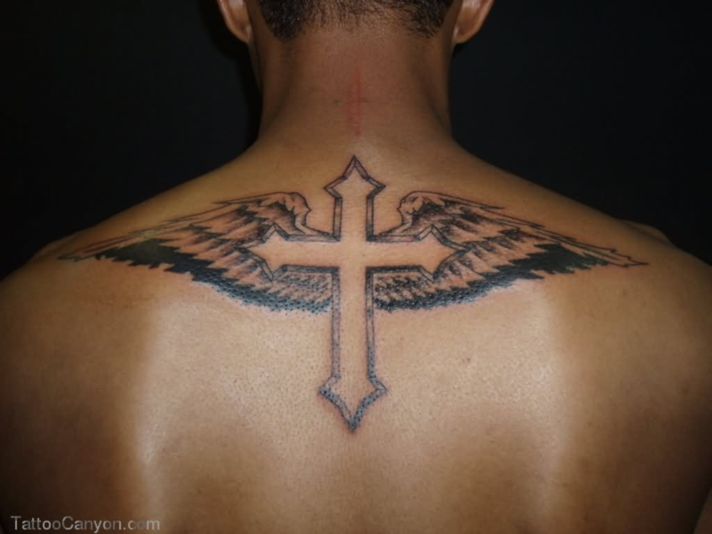 Angel Wings Cross Tattoo On Upper Back For Men