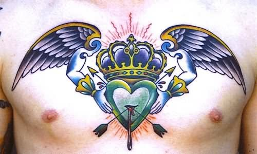 Angel Wings Heart Crown Tattoo On Chest For Men