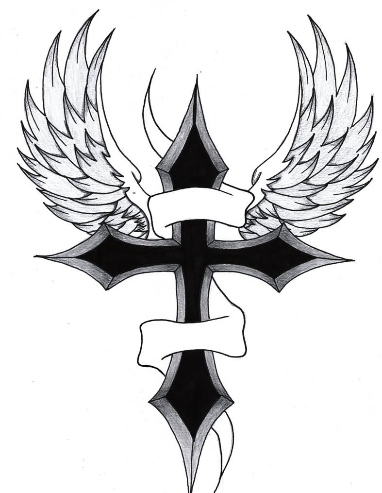 black cross wings design