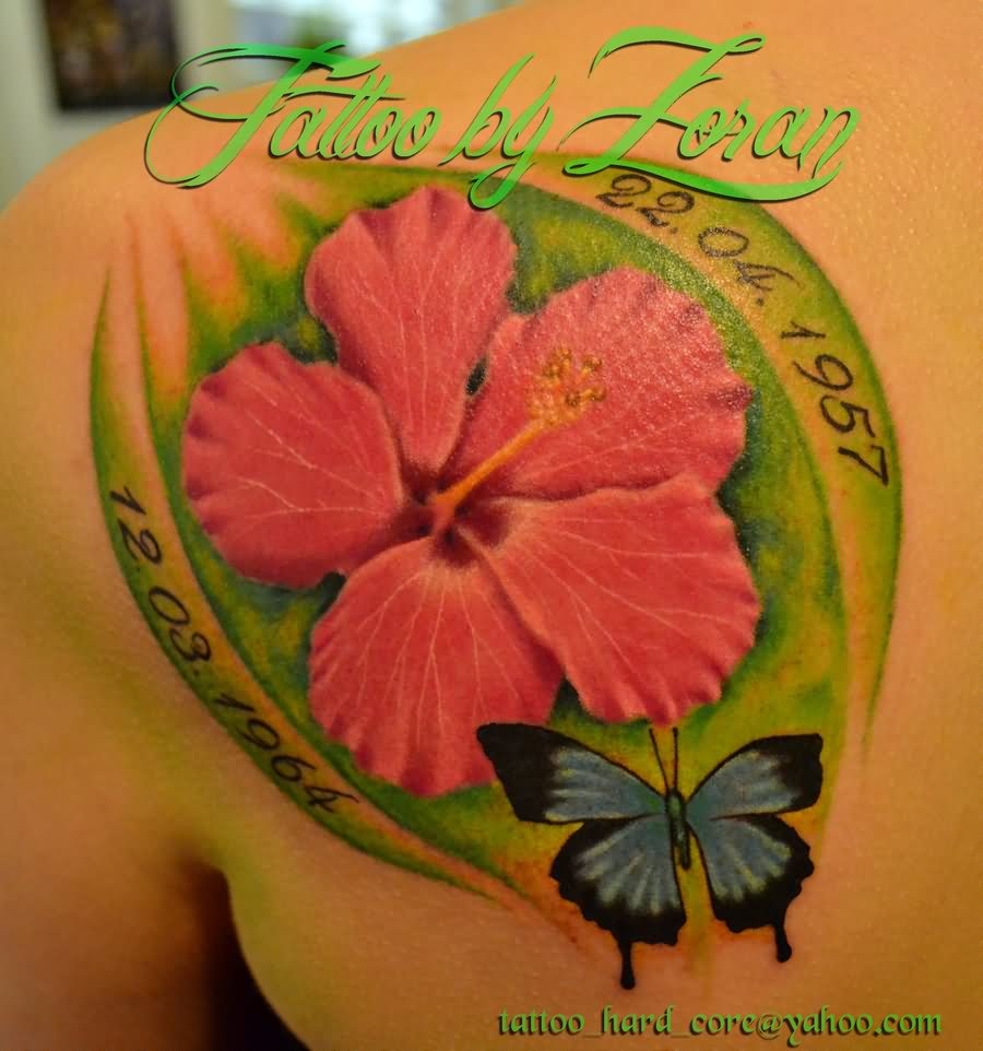 Beautiful Hibiscus Flowers Tattoo On Arm