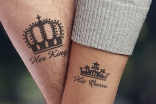 Crown Tattoos On Arm For Couple African Lion Footprints
