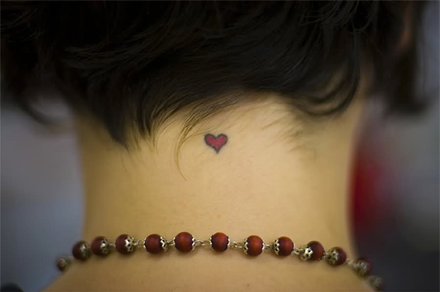 Cute Heart Tattoo On Nape Half Moon Tattoo On Wrist