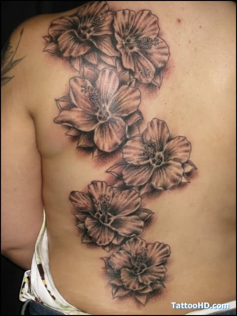 Grey Hibiscus Flowers Tattoo On Back