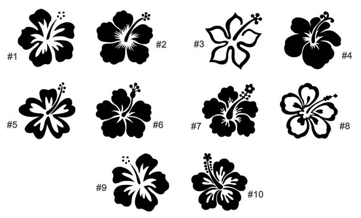 Hibiscus Flower Tattoo Stencil: Butterfly And Hibiscus Flowers Tattoo Design