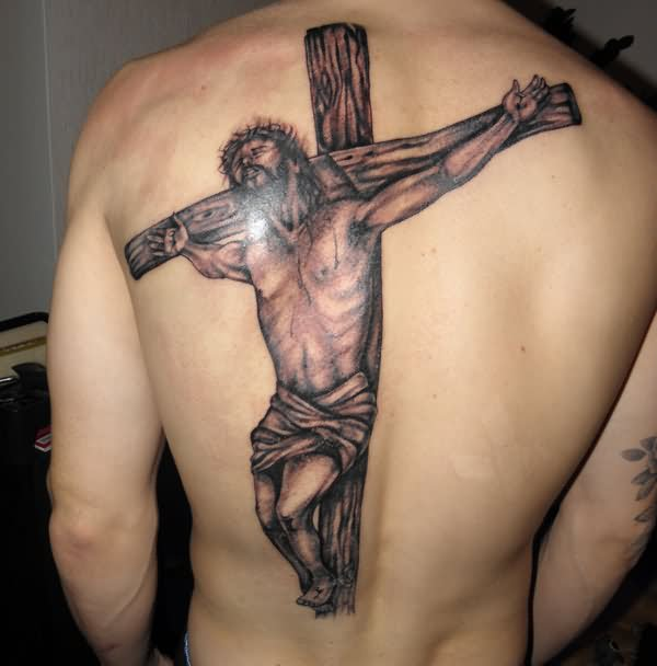 Jesus On Cross Tattoo On Back For Men