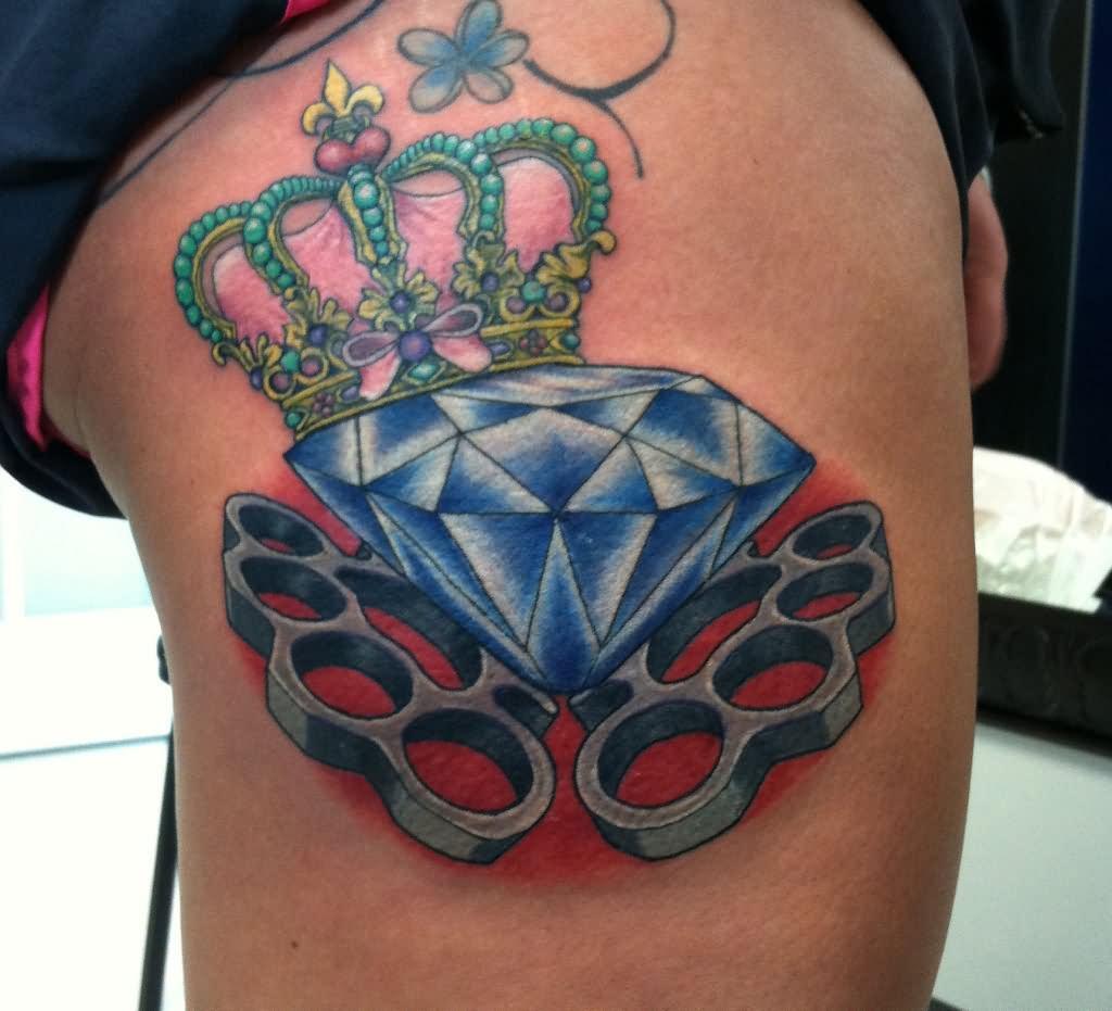 Knuckles Diamond Crown Tattoo On Leg