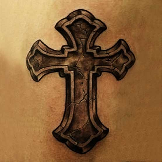 Latin Cracked Cross Tattoo