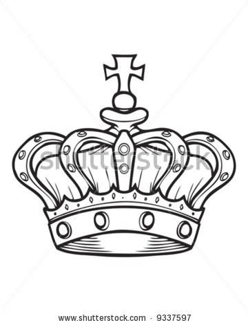 Outline Crown Tattoo Design