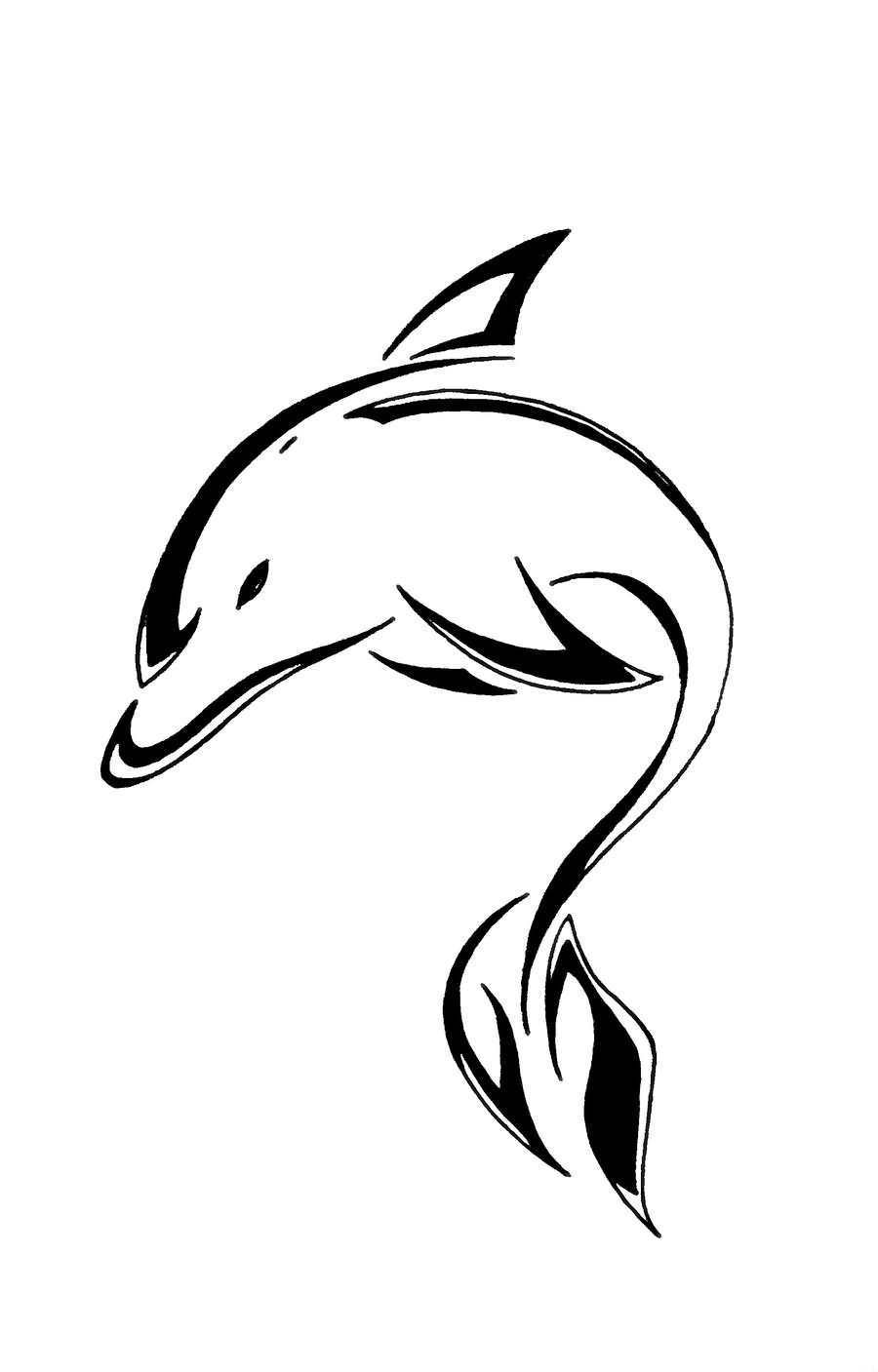 Dolphin outline tattoo - photo#7
